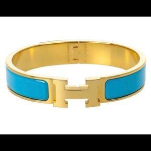 Authentic blue Hermès click h bracelet